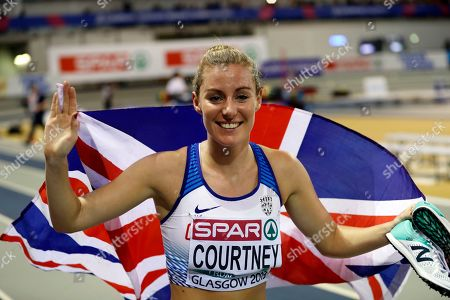 Melissa Courtney of Great Britain celebrates her bronze medal in the women's 3,000m final at the 35th European Athletics Indoor Championships, Glasgow, Britain, 01 March 2019.