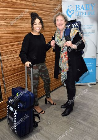 Leonie Elliott, Linda Bassett at the launch of national community midwives' bags