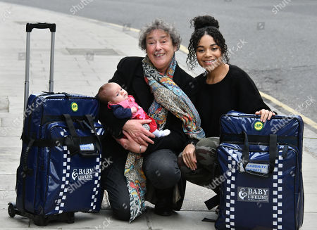 Linda Bassett, Leonie Elliott at the launch of national community midwives' bags