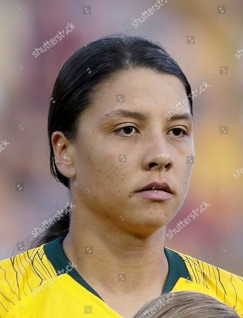 Australia's Samantha Kerr is photographed before their Cup of Nations soccer game in Sydney