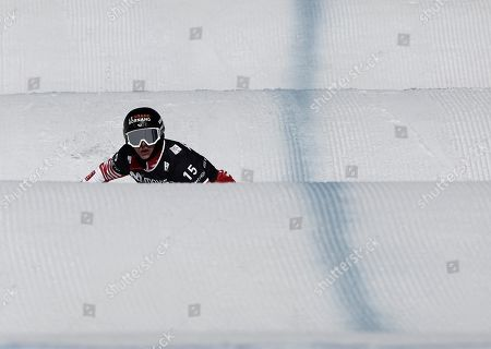 Nelly Moenne Loccoz from France in action during the women's downhill trial of the FIS Snowboard Cross World Cup at Baqueira Beret, Catalonia, north eastern Spain, 01 March 2019, an event running until 02 March.