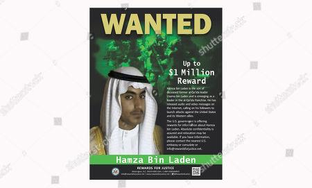 Este cartel de Se Busca dado a conocer por el Departamento de Estado norteamericano muestra a Hamza bin Laden. Arabia Saudí anunció el viernes, 1 de marzo del 2019, revocó la ciudadanía de Hamza bin Laden, hijo del difunto líder de al-Qaida Osama bin Laden, quien se ha vuelto una figura importante en la red terrorista