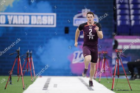 Rice kicker Jack Fox runs the 40-yard dash at the NFL football scouting combine in Indianapolis