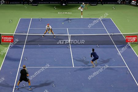 Stock Picture of Ben McLachlan, Jan-Lennard Struff. Japan's Ben McLachlan, rear, and his partner Germany's Jan-Lennard Struff play against Purav Raja and Jeevan Nedunchezhiyan from India during their semifinal match at the Dubai Duty Free Tennis Championship, in Dubai, United Arab Emirates