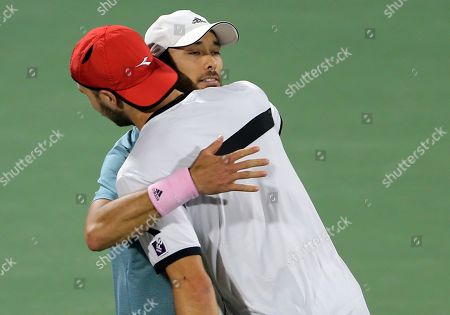 Ben McLachlan, Jan-Lennard Struff. Japan's Ben McLachlan, right, and his partner Germany's Jan-Lennard Struff celebrate after they defeated Purav Raja and Jeevan Nedunchezhiyan from India during their semifinal match at the Dubai Duty Free Tennis Championship, in Dubai, United Arab Emirates