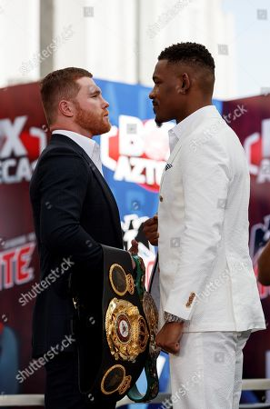 Stock Picture of Mexican Saul 'Canelo' Alvarez (L) and US Daniel Jacobs (R) pose during a press conference, in Mexico City, Mexico, 01 March 2018. Both came to Mexico City to promote their 04 May fight in Las Vegas.