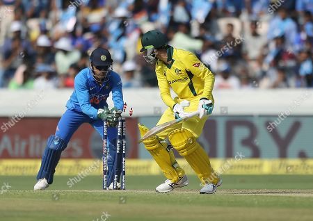 India's wicketkeeper Mahendra Singh Dhoni stumps out Australia's Peter Handscomb during the first one day international cricket match between India and Australia, in Hyderabad, India