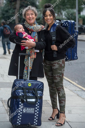 Linda Bassett and Leonie Elliott from BBC's Call the Midwife to launch a new UK standardised home delivery bag for midwives, on behalf of the maternity charity Baby Lifeline.