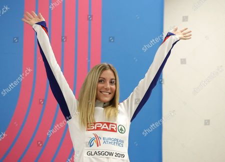 Britain's bronze medalist Melissa Courtney smiles during an awarding ceremony for the women's 3000 meters race at the European Athletics Indoor Championships at the Emirates Arena in Glasgow, Scotland