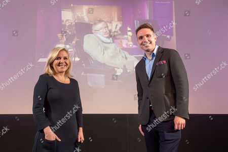 Stock Image of Premiere of Stephen Hawking's Black Holes VR Experience and Theatrical Documentary at the Science Museum. Stephen Hawking's children Lucy Hawking and Timothy Hawking at the launch