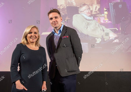Premiere of Stephen Hawking's Black Holes VR Experience and Theatrical Documentary at the Science Museum. Stephen Hawking's children Lucy Hawking and Timothy Hawking at the launch
