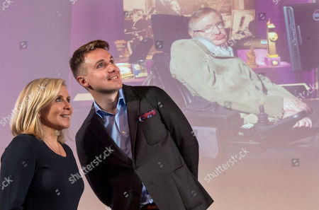 Stock Photo of Premiere of Stephen Hawking's Black Holes VR Experience and Theatrical Documentary at the Science Museum. Stephen Hawking's children Lucy Hawking and Timothy Hawking at the launch