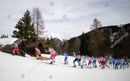 Stock Image of Andrey Melnichenko of Russia (L-R, in front), Martin Johnsrud Sundby of Norway, Simen Hegstad Krueger of Norway and Hans Christer Holund of Norway lead the field during the Men 50 km Mass Start Free of the 2019 Nordic Skiing World Championships at the Cross-Country Arena Seefeld in Seefeld, Austria, 03 March 2019.