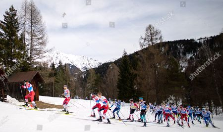 Andrey Melnichenko of Russia (L-R, in front), Martin Johnsrud Sundby of Norway, Hans Christer Holund of Norway and Simen Hegstad Krueger of Norway lead the field during the Men 50 km Mass Start Free of the 2019 Nordic Skiing World Championships at the Cross-Country Arena Seefeld in Seefeld, Austria, 03 March 2019.