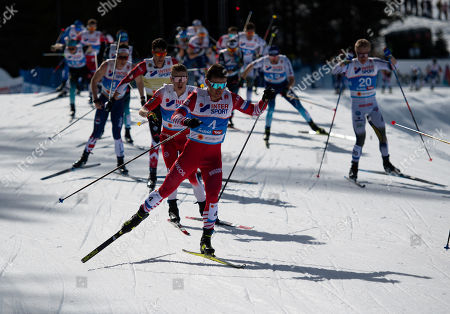 Stock Photo of Andrey Melnichenko of Russia (L) in action during the Men's 50 km Mass Start Free race of the 2019 Nordic Skiing World Championships at the Cross-Country Arena Seefeld in Seefeld, Austria, 03 March 2019.