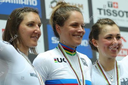 Lisa Klein and Lisa Brennauer of Germany and Ashlee Ankudinoff of Australia celebrates winning the Women's Individual Pursuit wearing the Rainbow Jersey.