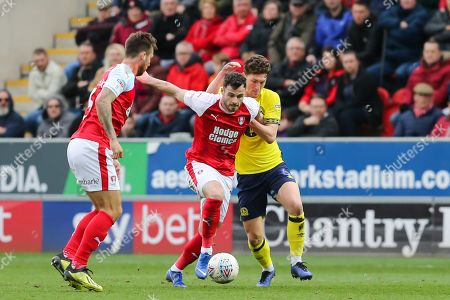 Stock Image of Rotherham United midfielder Anthony Forde (7) and Blackburn Rovers midfielder Richard Smallwood (6) battle for the ball during the EFL Sky Bet Championship match between Rotherham United and Blackburn Rovers at the AESSEAL New York Stadium, Rotherham