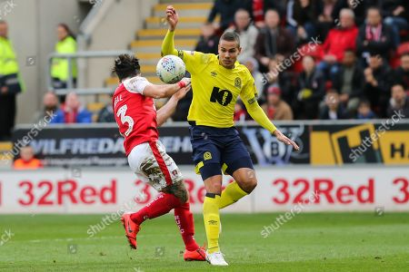 Blackburn Rovers midfielder Jack Rodwell (5) and Rotherham United midfielder Richard Towell (13) battle for the ball during the EFL Sky Bet Championship match between Rotherham United and Blackburn Rovers at the AESSEAL New York Stadium, Rotherham