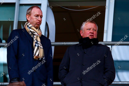 Sheffield United manager Chris Wilder and Sheffield United assistant manager Alan Knill attend the match between Rotherham United and Blackburn Rovers
