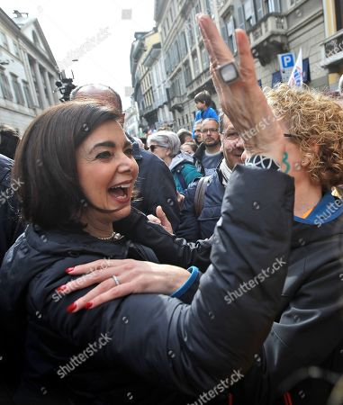 Stock Picture of Former Lower Chamber of Deputies speaker Laura Boldrini participates in an anti-racism demonstration, in Milan, Italy