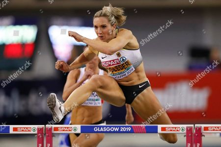 Cindy Roleder of Germany competes at the women's 60m hurdles rounds at the 35th European Athletics Indoor Championships, Glasgow, Britain, 02 March 2019.