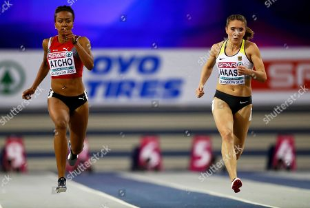 Rebekka Haase (R) of Germany and Sarah Atcho (L) of Switzerland compete in the women's 60m semi final at the 35th European Athletics Indoor Championships in Glasgow, Britain, 02 March 2019.