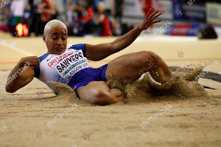 Jazmin Sawyers of Britain competes at the women's long jump qualifying rounds at the 35th European Athletics Indoor Championships, Glasgow, Britain, 02 March 2019.