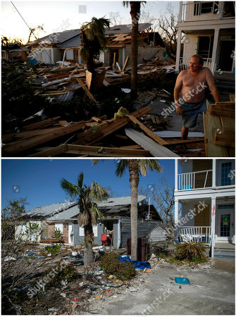 """Top, shows Dave Mullins looking out over the damage in front of his home, seen in background left, days after Hurricane Michael hit Mexico Beach, Fla., and the same home Jan. 25, 2019, bottom. There were no celebrity-studded telethons for the victims as there were last year for victims of Hurricanes Harvey and Irma, or more than a dozen years ago for the victims of Hurricane Katrina. """"We recognize there are other places in the country that have issues. But northwest Florida in the last six weeks to eight weeks, we feel like we have fallen by the wayside,"""" said Mayor Al Cathey of Mexico Beach"""
