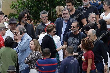 Brazil's Former President Dilma Rousseff attends the wake of the 7-year-old grandson of jailed former President Luiz Inacio Lula da Silva, Arthur, who died of meningitis on Friday, in Sao Bernardo do Campo, Brazil