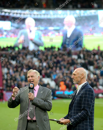 Sir Trevor Brooking introduces Billy Bonds to the crowd and on the big screen