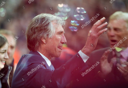 Stock Picture of A tearful Billy Bonds is introduced to the crowd by Sir Trevor Brooking (R) as West Ham name a stand after him