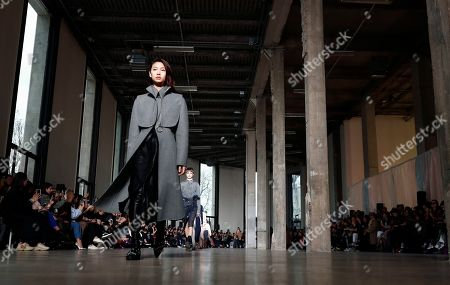 A model presents a creation from the Fall/Winter 2019/20 Women collection by Belgian designer Cedric Charlier during the Paris Fashion Week, in Paris, France, 02 March 2019. The presentation of the Women collections runs from 25 February to 05 March.