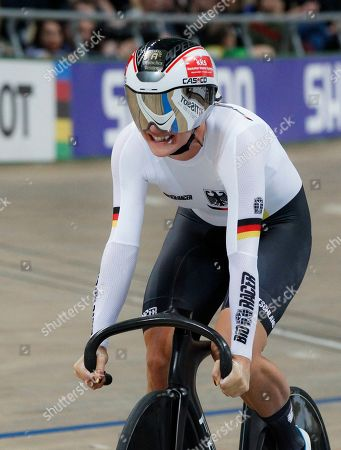 Stock Picture of Germany's Miriam Welte competes in the women's 500 m time trial final at the UCI Track Cycling World Championship in Pruszkow, Poland