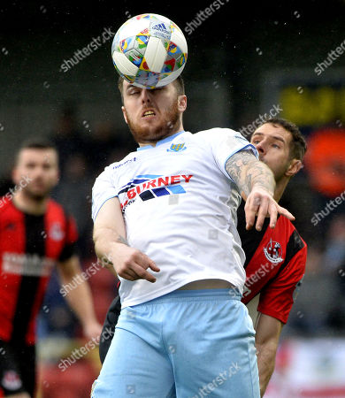 Crusaders v Ballymena United. Crusaders Sean Ward in action with Ballymena's Cathair Friel