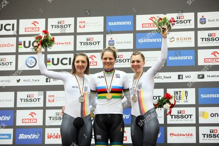 Ashlee Ankudinoff (C) of Australia poses with her gold medal on the podium after winning the women's Individual Pursuit final during the UCI Track Cycling World Championships 2019 at the Velodrome BGZ Arena in Pruszkow, Poland, 02 March 2019. Ankudinoff won ahead of second placed Lisa Brennauer (L) and third placed Lisa Klein (R), both of Germany.