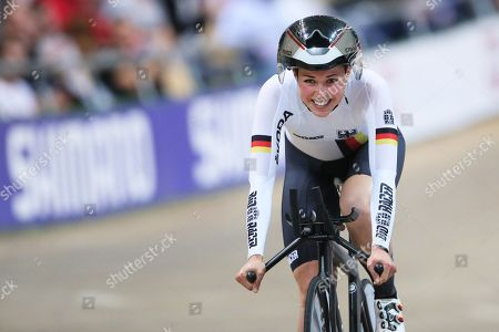 Lisa Klein of Germany is on her way to win the bronze medal in the women's Individual Pursuit final during the UCI Track Cycling World Championships 2019 at the Velodrome BGZ Arena in Pruszkow, Poland, 02 March 2019.