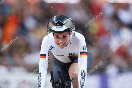 Lisa Klein of Germany reacts after winning the bronze medal in the women's Individual Pursuit final during the UCI Track Cycling World Championships 2019 at the Velodrome BGZ Arena in Pruszkow, Poland, 02 March 2019.