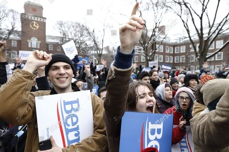 Supporters wave signs as they wait for Vermont Senator Bernie Sanders to take the stage to announce his candidacy for the 2020 Democratic Presidential nomination at Brooklyn College in New York City, New York, USA, 02 March 2019. Sanders also sought the Democratic nomination in the 2016 election.