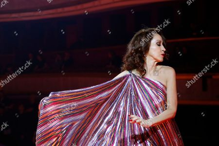 Model Pat Cleveland wears a creation as part of the Tommy Now ready to wear Fall-Winter 2019-2020 collection, that was presented in Paris