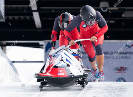 Elana Meyers Taylor (R) and Lake Kwaza of The United States compete in the Women's Bobsleigh event at the IBSF Bobsleigh & Skeleton World Championships in Whistler, Canada, 02 March 2019.