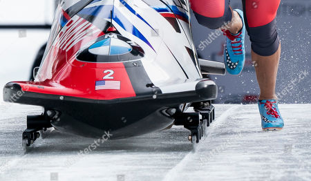 Elana Meyers Taylor of The United States runs swith her sled at the start while competing in the Women's Bobsleigh event at the IBSF Bobsleigh & Skeleton World Championships in Whistler, Canada, 02 March 2019.