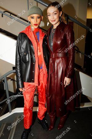 Dilone and Gigi Hadid backstage