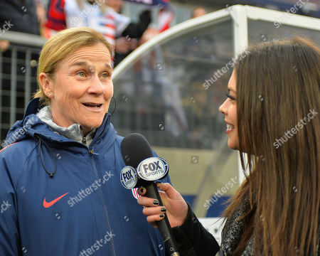 US Women's National Team Head Coach, Jill Ellis (left), during a pre-game interview with FOX Sports at the International Soccer match up between the USA and England, in the She Believes Cup, at Nissan Stadium in Nashville, TN. The game ended in a tie, 2-2. Kevin Langley/Sports South Media/CSM