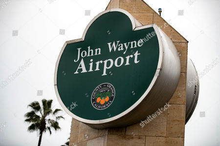 The sign of the John Wayne Airport is visible  in Santa Ana, Orange County, California, USA, 02 March 2019. Critics are demanding the airport be renamed after a controversy erupted after comments judged to be racist made in an interview with Playboy Magazine in 1971 resurfaced. During the interview, John Wayne is quoted as saying: 'I believe in white supremacy until the blacks are educated to a point of responsibility'.