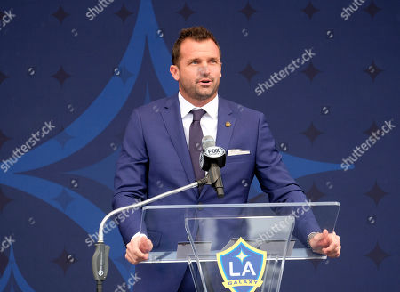 Chris Klein attends an LA Galaxy David Beckham statue MLS soccer ceremony at Legends Plaza in front of Dignity Health Sports Park in Carson, Calif