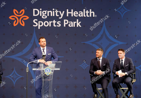 Stock Photo of Chris Klein, left, David Beckham, center, and Robbie Keane attend an LA Galaxy David Beckham statue MLS soccer ceremony at Legends Plaza in front of Dignity Health Sports Park in Carson, Calif