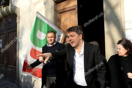Former Italian Prime Minister Matteo Renzi (L) leaves after castin his vote in the primary elections for the national secretariat of the Italian Democratic Party (Partito Democratico, PD), in Florence, Italy, 03 March 2019. PD politicians Maurizio Martina, who replaced Renzi following his resignation in 2018, Roberto Giachetti and Nicola Zingaretti are the main candidates for the Democratic Party's leadership election which was triggered by the party's general election defeat and Renzi's withdrawal in 2018.