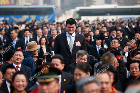 Former NBA player Yao Ming (C) arrives to attend the opening of the Second Session of the 13th Chinese People's Political Consultative Conference (CPPCC) National Committee at the Great Hall of the People (GHOP) in Beijing, China, 03 March 2019. The CPPCC is the top advisory body of the Chinese political system and runs alongside the annual plenary meetings of the 13th National People's Congress (NPC), together known as 'Lianghui' or 'Two Meetings'.