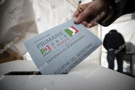 A man casts his vote in the primary elections for the national secreteriat of the Italian Democratic Party (Partito Democratico, PD), at a tent in Rome, Italy, 03 March 2019. PD politicians Maurizio Martina, who replaced Renzi following his resignation in 2018, Roberto Giachetti and Nicola Zingaretti are the main candidates for the Democratic Party's leadership election which was triggered by the party's general election defeat and Renzi's withdrawal in 2018.