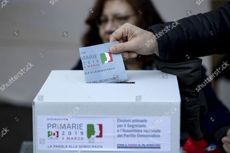 A voter casts his ballot at a PD party tent during the primary elections for the national secretariat of the Italian Democratic Party (Partito Democratico, PD), in Rome, Italy, 03 March 2019. PD politicians Maurizio Martina, who replaced Renzi following his resignation in 2018, Roberto Giachetti and Nicola Zingaretti are the main candidates for the Democratic Party's leadership election which was triggered by the party's general election defeat and Renzi's withdrawal in 2018.